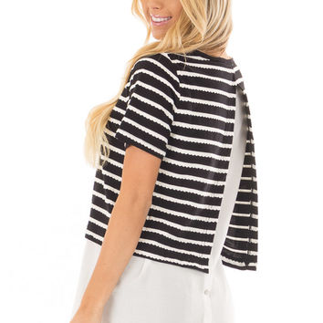 Black and White Striped Layered Top with Button Back Detail