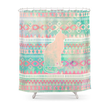 Society6 Whimsical Cat, Pink Turquoise Girly Aztec Pattern Shower Curtains