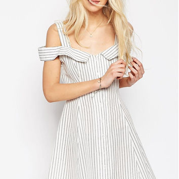 White Striped Cut Shoulder Mini Dress