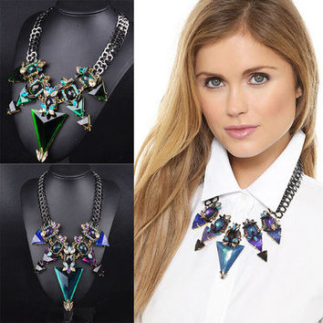 SIMPLE - Fashion autumn winter triangle Crystal like Necklace Collarbone Chain a13482