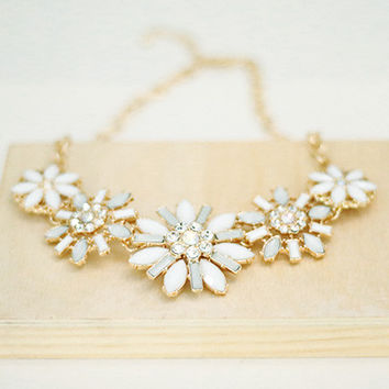 Statement Necklace - Clear/White Stones and Crystals - Gold Tone