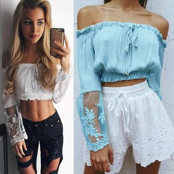 Fashion Lace Stitching Long Sleeve Off Shoulder Chiffon Shirt Crop Tops
