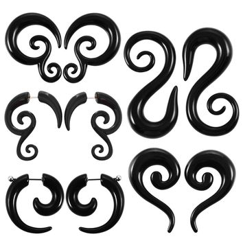 2PCS Black Acrylic Fake UV Ear Plugs Tunnels Spiral Ear Tapers Gauges Expanders Earring Stretcher Rings Piercing Body Jewelry