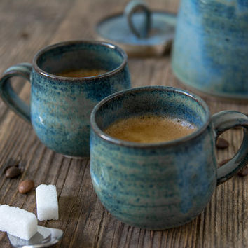 Ceramic Espresso Coffee Cup / Pottery Blue Espresso Gift / Thanksgiving Gift Idea