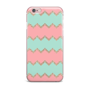 "Monika Strigel ""Avalon Soft Coral and Mint Chevron"" Orange Green iPhone Case"