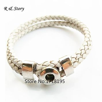 2015 Interchangeable Jewelry New Real Leather Charm White Bracelets Fit Snaps Snap Buttons bracelet 21cm SB_211