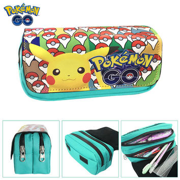 Hot Sell Game Poke Go Pencil Case Wallet Poke Eevee Pikachu Cosmetic Makeup Coin Pouch Double Zipper Pen Bag