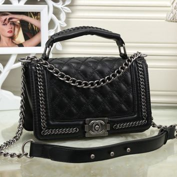 Chanel Women Personality Fashion Quilted Metal Chain Single Shoulder Messenger Bag Small Square Bag Handbag