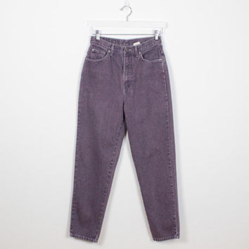 Vintage 80s Jeans High Waisted Jeans Purple Denim Tapered Leg Jeans Mom Jeans Dusty Faded Purple Bonjour Brand Hipster Mom Jeans M Medium 29