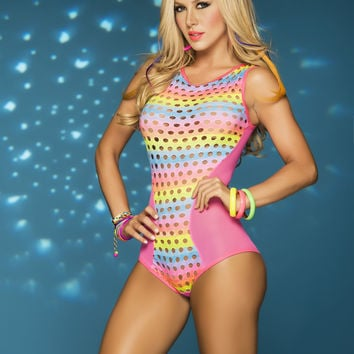 New Rainbow Mesh Romper