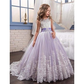 WF809 Crystal Ball Gown Flower Girl Dresses Lovely Bow Purple/ White Appliques Girls First Communion Dress Kids Christmas Dress