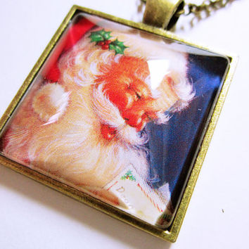 Jolly Santa Holiday Pendant Santa Reads Naughty List Stocking Stuffer Necklace Gift Idea For Her CHRISTMAS JEWELRY