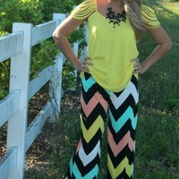 "Bangles Boutique — ""COLOR ME IN PASTEL"" Mint/Coral/Yellow/Black & White Chevron Print PALAZZO PANT!"