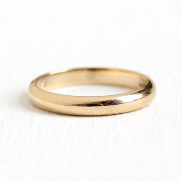 Gold Wedding Band - Vintage 14k Rosy Yellow Gold Minimalist Ring - Dated 1951 Women's Size 4 1/2 Classic Retro Fine Bridal Stacking Jewelry
