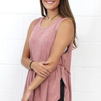 Side Slit Ribbed Babydoll Tank {L. Brick}