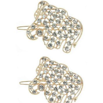 Set of 2 Rhinestone Elephant Boho Hair Clips