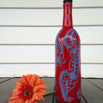 Hand Painted Recycled Wine Bottle  Red & Blue by Useless2Unique