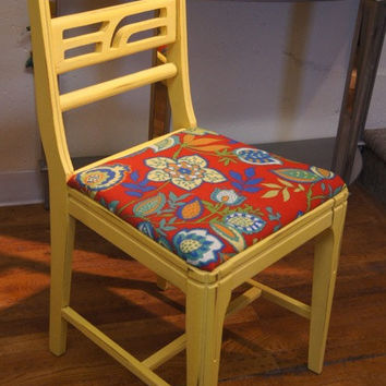 Yellow Chair / Accent Chair / Vintage / Painted / Shabby Chic / Upcycled / Repurposed / Distressed /