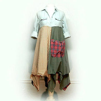 Shabby Chic Dress, Mori Girl, Romantic Country Chic, Boho Chic Clothing, Hippie Dress, Gypsy Dress Upcycled Clothing by Primitive Fringe