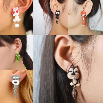 New Fashion Creative Women Jewelry Ladies Girls Handmade Cute Animal Dog Cat Fox Pottery Earrings Animal Earring Accessories
