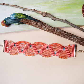 Coral macrame bracelet - bohemian jewelry, boho chic, micromacrame, beadwork bracelet, seed bead jewelry, unique gift for her