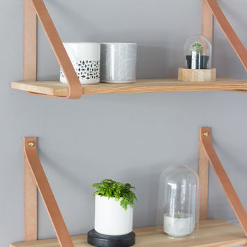 Rubber Wood SHELFIE Shelf With Natural Leather - 30/100