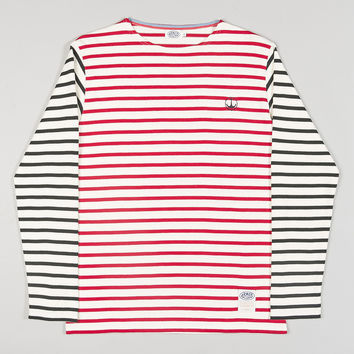 Armor-Lux Two Tone Stripe Top Red/Navy