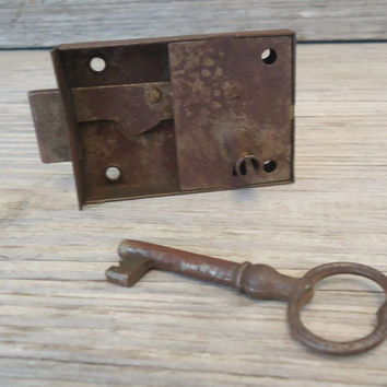 Antique Iron Bjorkboda Finland Cabinet Cupboard Door Lock w Skeleton Key