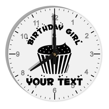 "Personalized Birthday Girl Cupcake -Customizable- Name 8"" Round Wall Clock with Numbers"
