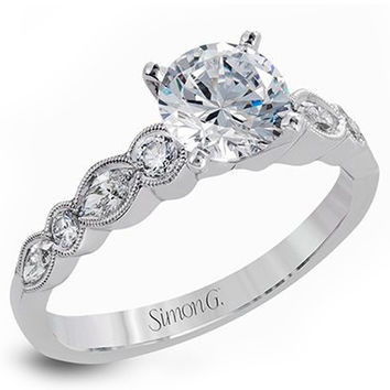 Simon G. Vintage Style Bezel Set Side Diamond Engagement Ring