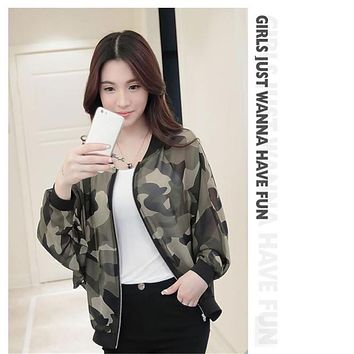 snowshine #3522  Women Stand Collar Long Sleeve Zipper Camouflage Printed Bomber Jacket free shipping