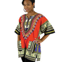 Traditional Thailand Dashiki: Red