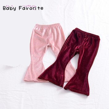 Baby Favorite Flared Trousers Pleuche Velvet Long Pants Fashion Clothes For Children And Kids Girl Soft Spring Design Hot Sale
