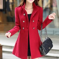 Blue/Red Double-Breasted Stand Collar Trench Coat