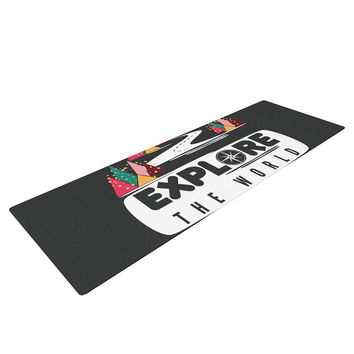 "Famenxt ""Explore the World"" Black White Yoga Mat"