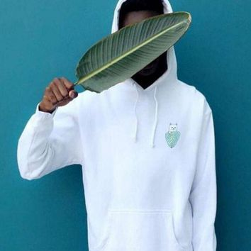 RIPNDIP Women Men Hoodies With Pocket Pullover Sweater Top White