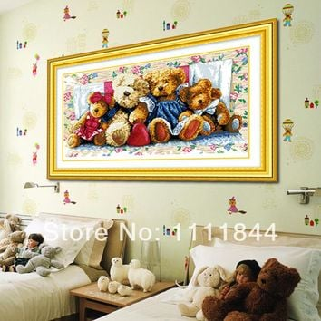 Needlework,Cross stitch,Embroidery , family bears picture Patterns Counted Cross-Stitching,Christmas