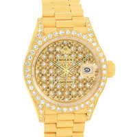 Rolex President Crown Collection Yellow Gold Pave Diamond Watch 69158