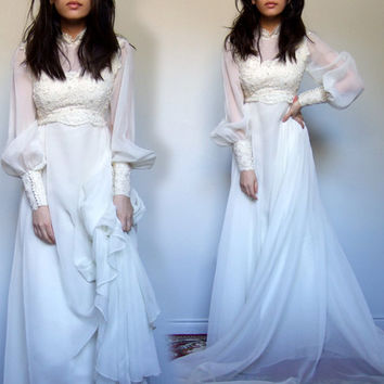 70s Lace Wedding Dress Long Train Sheer Long Sleeve Beaded Ivory Dress - Extra Small XXS / XS
