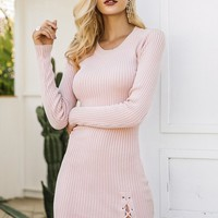 Knitted Dresses - Lace-Up Side Split Dresses