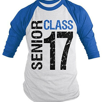 Shirts By Sarah Men's Senior Class T-Shirt 16 3/4 Sleeve Shirts Seniors 2017 Distressed Raglan