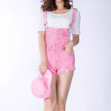 ICIKF4S 2018 New Summer Women Denim Overalls Ladies Pink Vintage Loose Solid Hole Black Overall Jeans Denim Shorts Female Above Knee