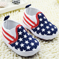 Baby First Walker Shoes Toddler Unisex Boy Girls Star Plaids Print Anti-slip Slip-on Canvas Crib Shoes  J4U66