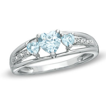 Heart-Shaped Lab-Created Aquamarine Three Stone and Diamond Accent Ring in Sterling Silver