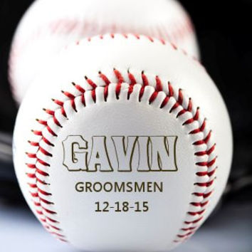 Personalized Custom Ring Bearer Baseball ~ Engraved Groomsmen Groom, Father of Bride & Groom ~ Best Man Gift, Wedding Keepsake