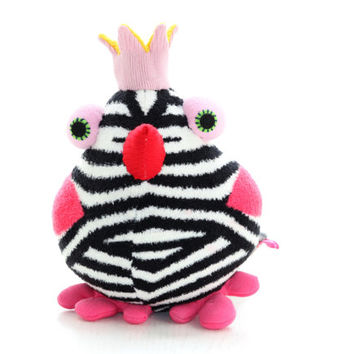 Cheerful Crown birds bird toy  black white  birds Nursery decor Stuffed Baby bird toy baby gift Playful birds with pink  Crown red mouth