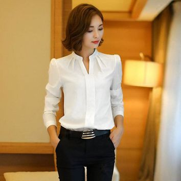 White Blouse Chiffon Office Shirts Women Long Sleeve V Neck Work Wear Tops Solid Color Spring Autumn Casual For Women