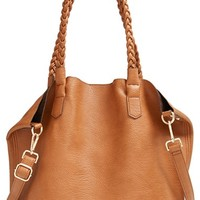 Junior Women's Street Level Slouchy Faux Leather Tote with Pouch