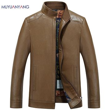 Jackets Men Leather Suede Coats Casual  Man Faux Leather Jacket Clothing Solid Color Jackets & Coats