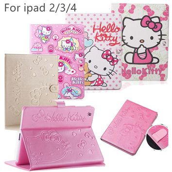 "New Cute Hello Kitty Smart Case For apple iPad 2 ipad3 9.7""KT Cover Stand Leather  For Apple iPad 4 case Tablet Protective Cover"